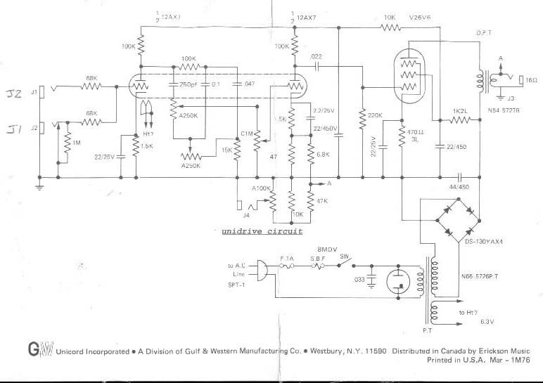 Univox Guitar Wiring Diagram : Univox u b schematic wiring diagram